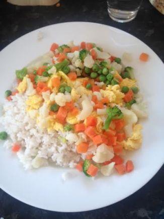 dinner for 5 days - egg, rice & vegetables
